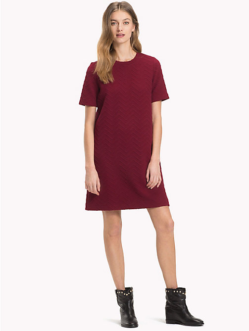 TOMMY HILFIGER Regular Fit Chevron Dress - CABERNET - TOMMY HILFIGER NEW IN - main image