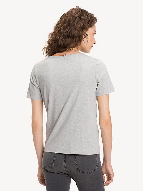 TOMMY HILFIGER Organic Cotton V-Neck Top - LIGHT GREY HTR - TOMMY HILFIGER Sustainable Evolution - detail image 1