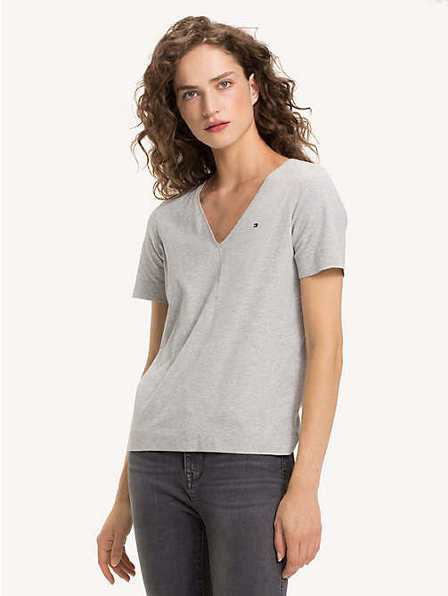 TOMMY HILFIGER Organic Cotton V-Neck Top - LIGHT GREY HTR - TOMMY HILFIGER Sustainable Evolution - main image