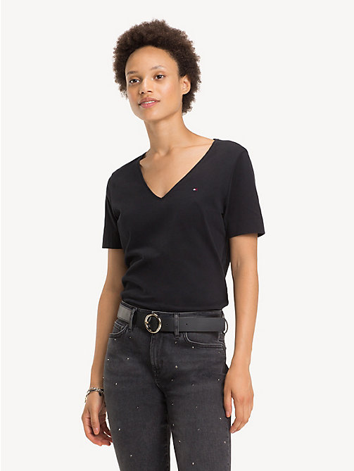 TOMMY HILFIGER Organic Cotton V-Neck Top - BLACK BEAUTY - TOMMY HILFIGER Sustainable Evolution - main image