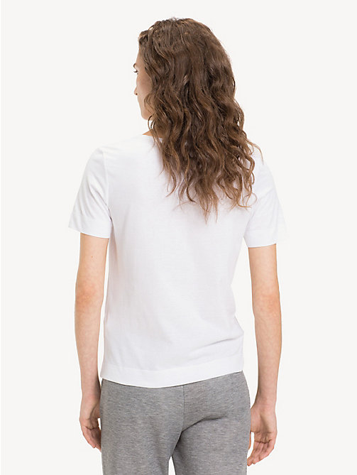 TOMMY HILFIGER Organic Cotton V-Neck Top - CLASSIC WHITE - TOMMY HILFIGER Sustainable Evolution - detail image 1
