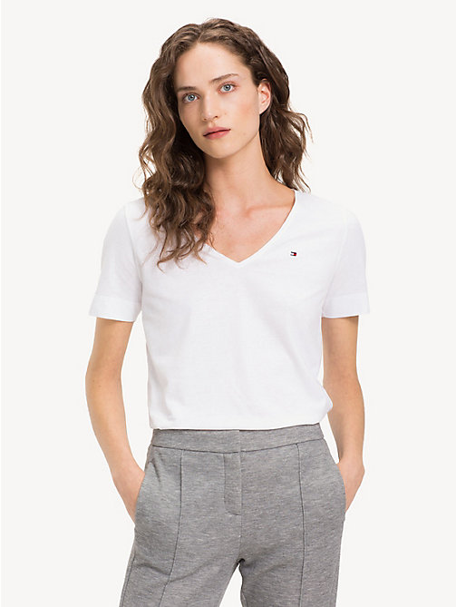 TOMMY HILFIGER Organic Cotton V-Neck Top - CLASSIC WHITE - TOMMY HILFIGER Sustainable Evolution - main image