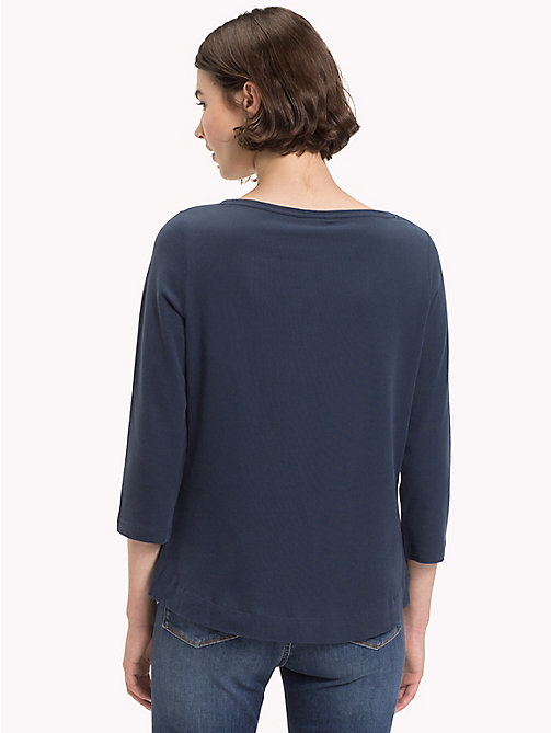 TOMMY HILFIGER Boat Neck Cotton T-Shirt - MIDNIGHT - TOMMY HILFIGER Sustainable Evolution - detail image 1