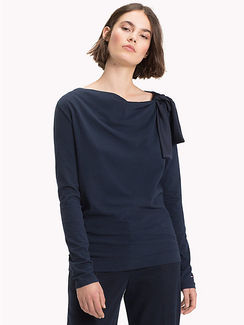 TOMMY HILFIGER Tied Shoulder Top - MIDNIGHT -  NEW IN - main image