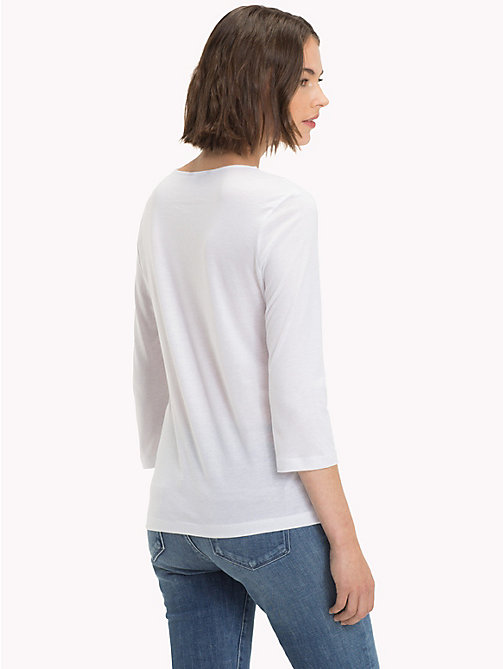 TOMMY HILFIGER Ruched Three-Quarter Sleeve Top - CLASSIC WHITE - TOMMY HILFIGER NEW IN - detail image 1