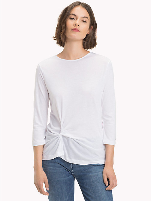 TOMMY HILFIGER Ruched Three-Quarter Sleeve Top - CLASSIC WHITE - TOMMY HILFIGER NEW IN - main image