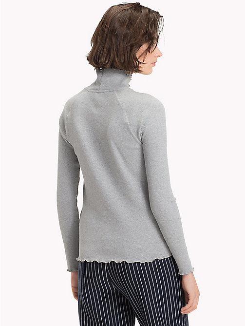 TOMMY HILFIGER High Neck Rib Cotton Top - LIGHT GREY HTR - TOMMY HILFIGER Clothing - detail image 1