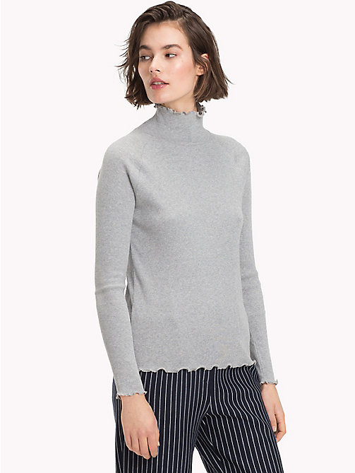 TOMMY HILFIGER Ribkatoenen top met hoge hals - LIGHT GREY HTR - TOMMY HILFIGER De Office Edit - main image