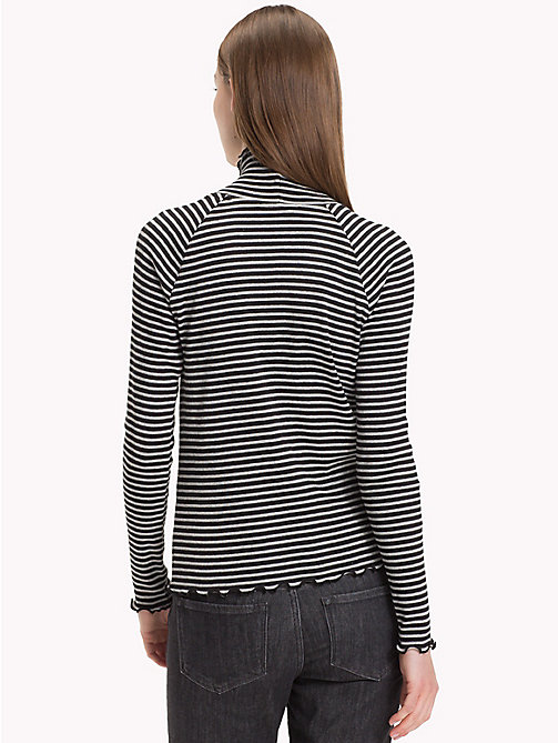 TOMMY HILFIGER High Neck Rib Cotton Top - BLACK BEAUTY  / LIGHT GREY HTR STP - TOMMY HILFIGER The Office Edit - detail image 1