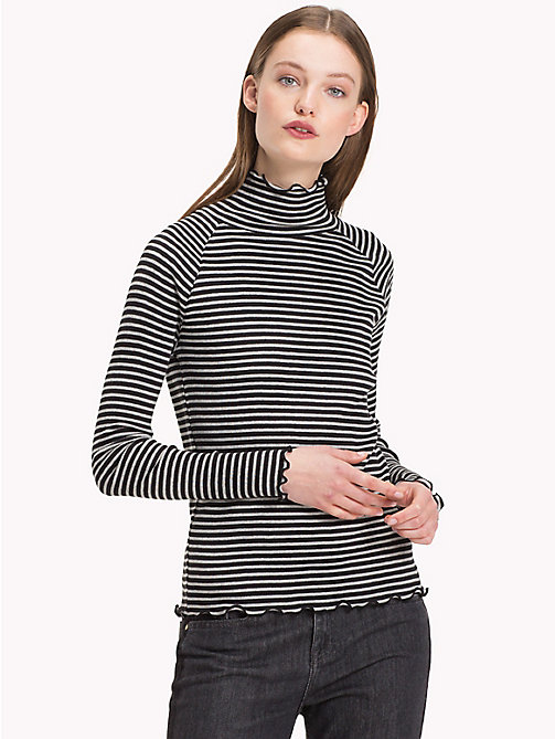 TOMMY HILFIGER High Neck Rib Cotton Top - BLACK BEAUTY  / LIGHT GREY HTR STP - TOMMY HILFIGER The Office Edit - main image