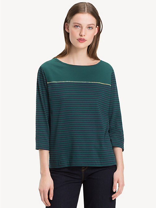 TOMMY HILFIGER Block Stripe Top - JUNE BUG / SKY CAPTAIN STP - TOMMY HILFIGER NEW IN - main image