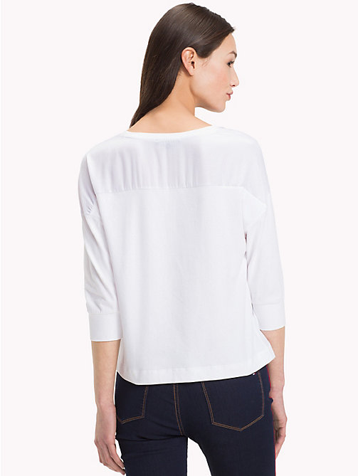 TOMMY HILFIGER V-Neck Colour-Blocked Top - CLASSIC WHITE - TOMMY HILFIGER NEW IN - detail image 1