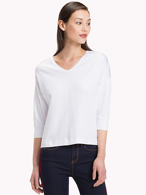 TOMMY HILFIGER V-Neck Colour-Blocked Top - CLASSIC WHITE - TOMMY HILFIGER NEW IN - main image