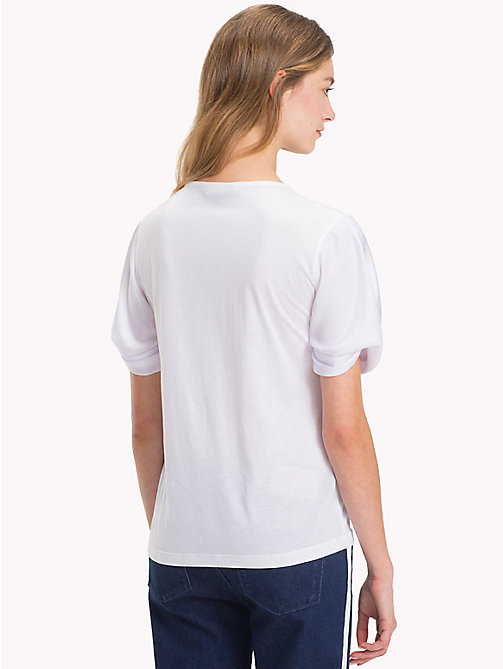 TOMMY HILFIGER Crew Neck Puff Sleeve T-Shirt - CLASSIC WHITE - TOMMY HILFIGER T-Shirts - detail image 1