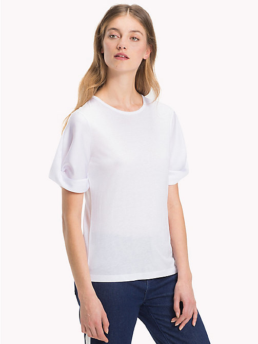 TOMMY HILFIGER Crew Neck Puff Sleeve T-Shirt - CLASSIC WHITE - TOMMY HILFIGER T-Shirts - main image
