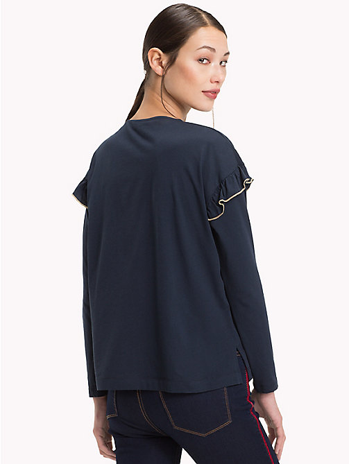 TOMMY HILFIGER Molly Shoulder Frill Top - MIDNIGHT - TOMMY HILFIGER NEW IN - detail image 1