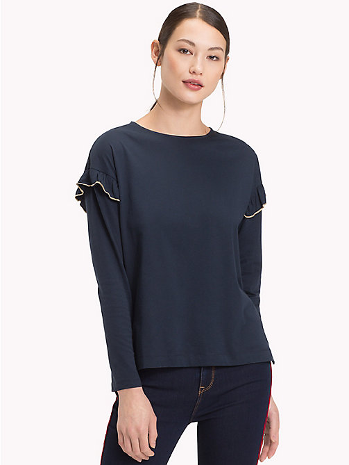 TOMMY HILFIGER Molly Shoulder Frill Top - MIDNIGHT - TOMMY HILFIGER NEW IN - main image