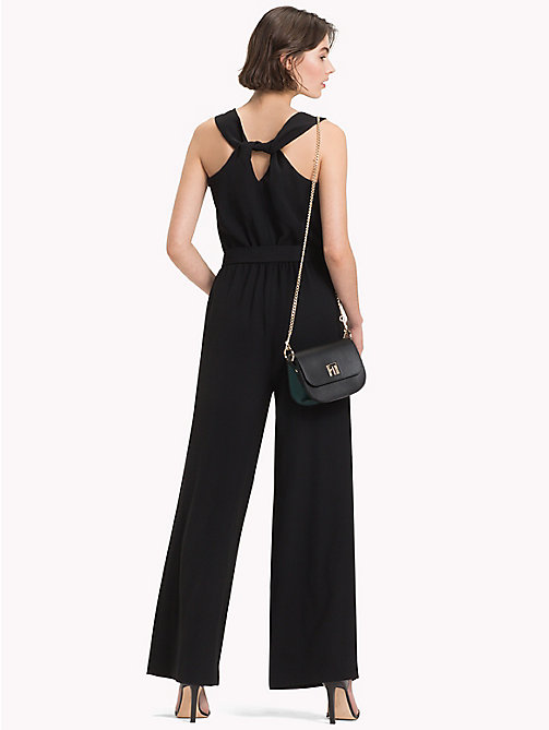 TOMMY HILFIGER Wide Leg Crepe Jumpsuit - BLACK BEAUTY - TOMMY HILFIGER Dresses & Skirts - detail image 1