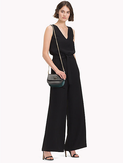 TOMMY HILFIGER Wide Leg Crepe Jumpsuit - BLACK BEAUTY - TOMMY HILFIGER Dresses & Skirts - main image