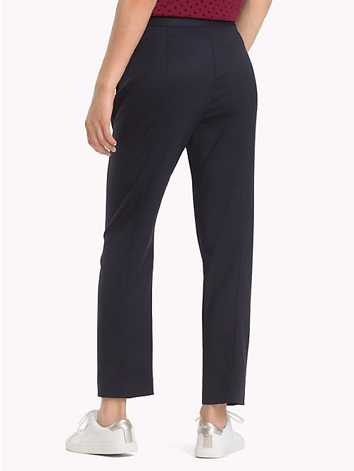 TOMMY HILFIGER Button Trim Wool Trousers - MIDNIGHT - TOMMY HILFIGER Clothing - detail image 1