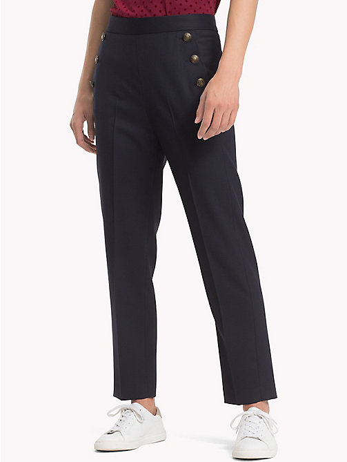 TOMMY HILFIGER Button Trim Wool Trousers - MIDNIGHT - TOMMY HILFIGER Clothing - main image