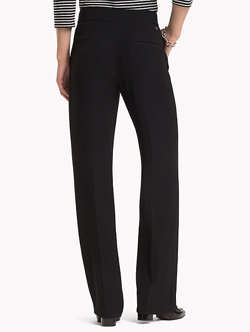 TOMMY HILFIGER Belted High Waist Crepe Trousers - BLACK BEAUTY - TOMMY HILFIGER The Office Edit - detail image 1