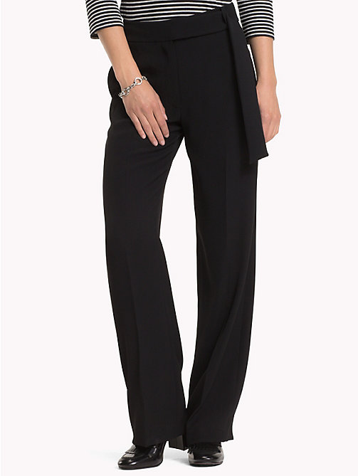 TOMMY HILFIGER Belted High Waist Crepe Trousers - BLACK BEAUTY - TOMMY HILFIGER Trousers - main image