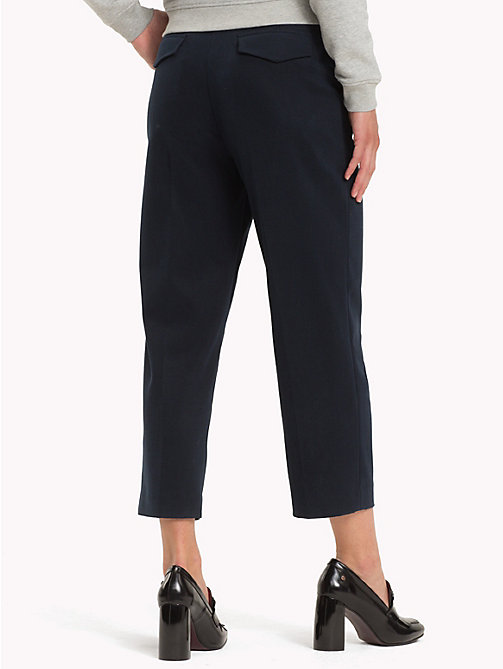 TOMMY HILFIGER Cropped Straight Leg Trousers - MIDNIGHT - TOMMY HILFIGER Clothing - detail image 1
