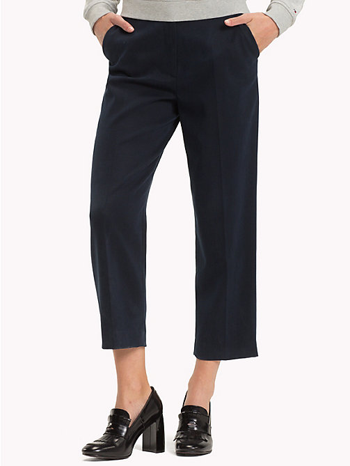 TOMMY HILFIGER Cropped Straight Leg Trousers - MIDNIGHT - TOMMY HILFIGER Clothing - main image