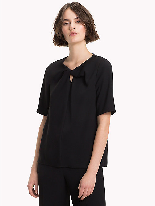 TOMMY HILFIGER Twisted Neck Three-Quarter Sleeve Top - BLACK BEAUTY - TOMMY HILFIGER The Office Edit - main image