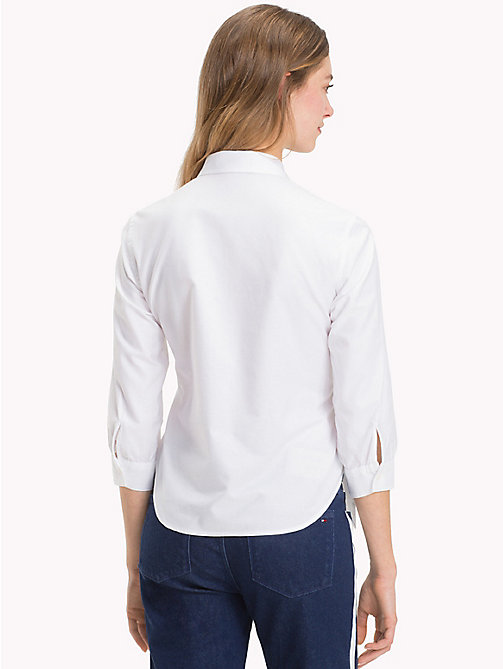 TOMMY HILFIGER Belted Three-Quarter Sleeve Shirt - CLASSIC WHITE - TOMMY HILFIGER The Office Edit - detail image 1