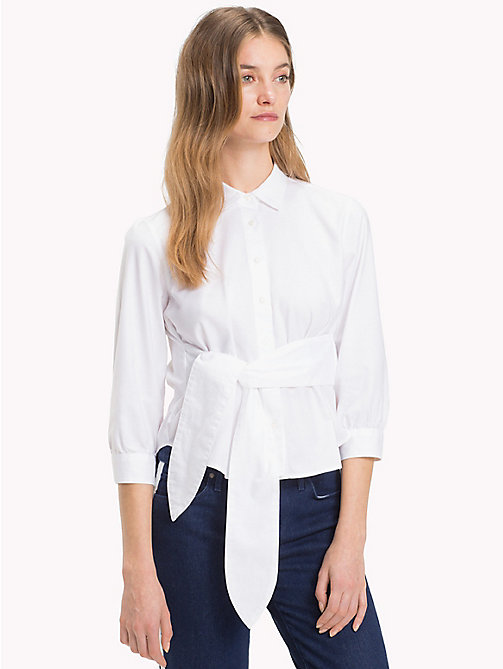 TOMMY HILFIGER Belted Three-Quarter Sleeve Shirt - CLASSIC WHITE - TOMMY HILFIGER The Office Edit - main image