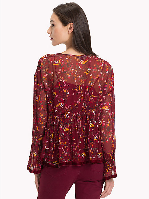 TOMMY HILFIGER Ruffled Sleeve Blouse - FOLKLORE FLORAL / CABARNET - TOMMY HILFIGER Black Friday Women - detail image 1