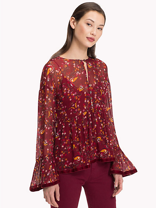 TOMMY HILFIGER Ruffled Sleeve Blouse - FOLKLORE FLORAL / CABARNET - TOMMY HILFIGER Black Friday Women - main image