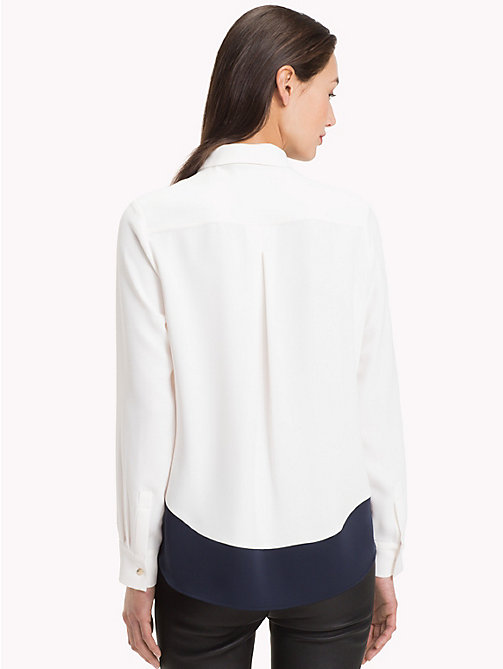 TOMMY HILFIGER Long Sleeved Satin Shirt - SNOW WHITE - TOMMY HILFIGER NEW IN - detail image 1