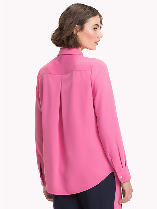 TOMMY HILFIGER Long Sleeved Satin Shirt - CHATEAU ROSE - TOMMY HILFIGER NEW IN - detail image 1