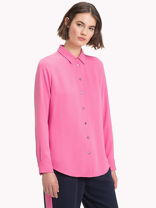 TOMMY HILFIGER Long Sleeved Satin Shirt - CHATEAU ROSE - TOMMY HILFIGER NEW IN - main image