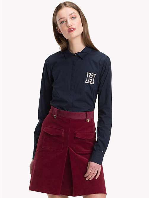 TOMMY HILFIGER Heritage Bluse aus Bio-Baumwolle - MIDNIGHT - TOMMY HILFIGER Sustainable Evolution - main image