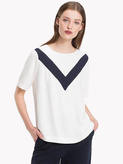 TOMMY HILFIGER Satin Chevron Top - SNOW WHITE - TOMMY HILFIGER Blouses - main image