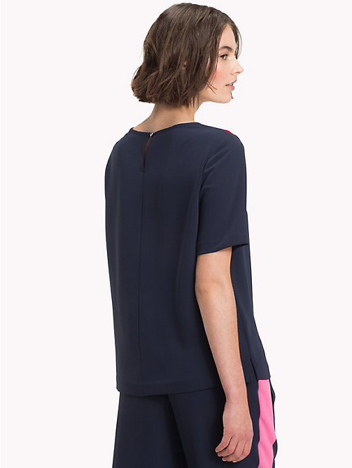 TOMMY HILFIGER Satin Chevron Top - MIDNIGHT - TOMMY HILFIGER Blouses - detail image 1