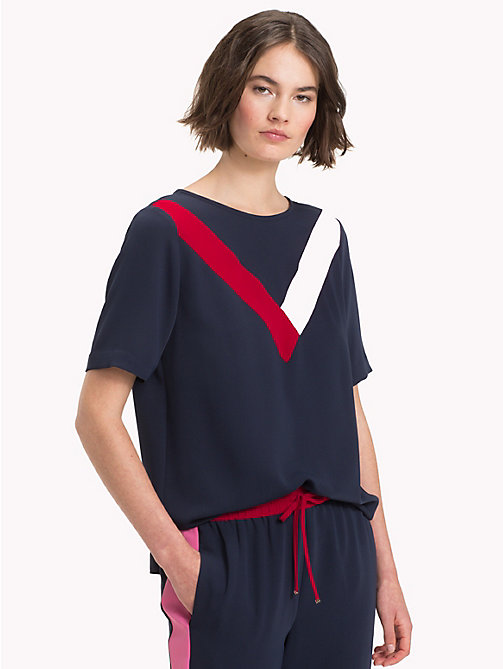 TOMMY HILFIGER Satin Chevron Top - MIDNIGHT - TOMMY HILFIGER Blouses - main image