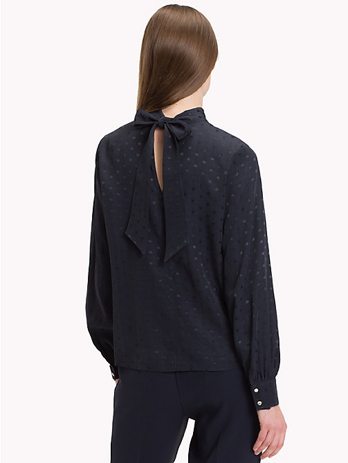 TOMMY HILFIGER Jacquard Polka Weave Blouse - MIDNIGHT - TOMMY HILFIGER NEW IN - detail image 1