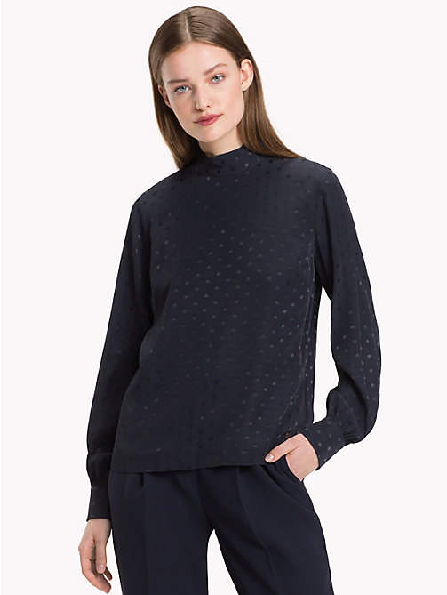 TOMMY HILFIGER Jacquard Polka Weave Blouse - MIDNIGHT - TOMMY HILFIGER NEW IN - main image