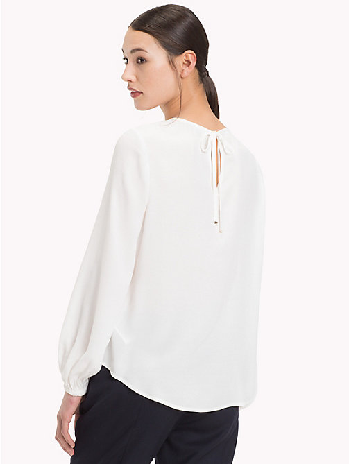 TOMMY HILFIGER Viscose Long Sleeve Blouse - SNOW WHITE - TOMMY HILFIGER Clothing - detail image 1