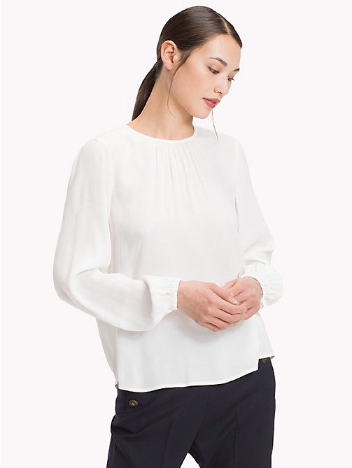 TOMMY HILFIGER Viscose Long Sleeve Blouse - SNOW WHITE - TOMMY HILFIGER Clothing - main image
