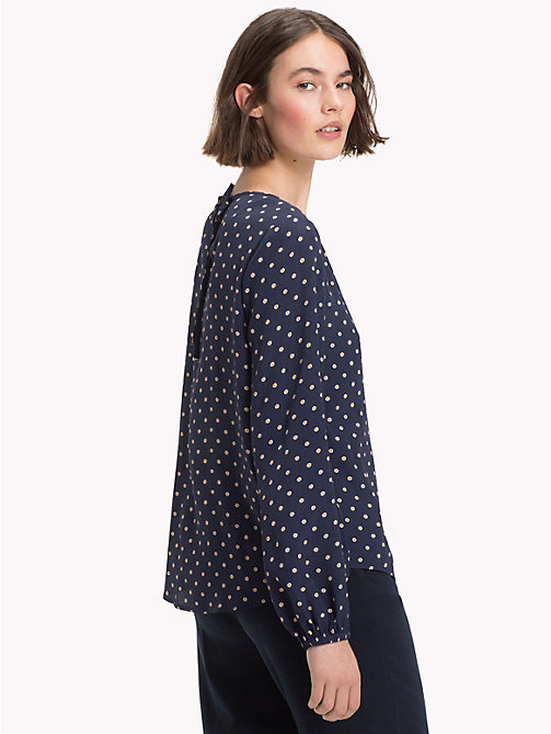 TOMMY HILFIGER Viscose Long Sleeve Blouse - OUTLINE POLKA / SKY CAPTAIN - TOMMY HILFIGER NEW IN - detail image 1
