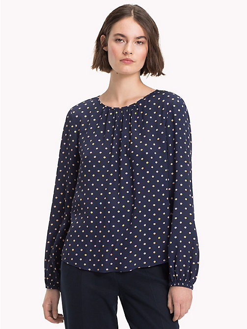 TOMMY HILFIGER Viscose Long Sleeve Blouse - OUTLINE POLKA / SKY CAPTAIN - TOMMY HILFIGER NEW IN - main image