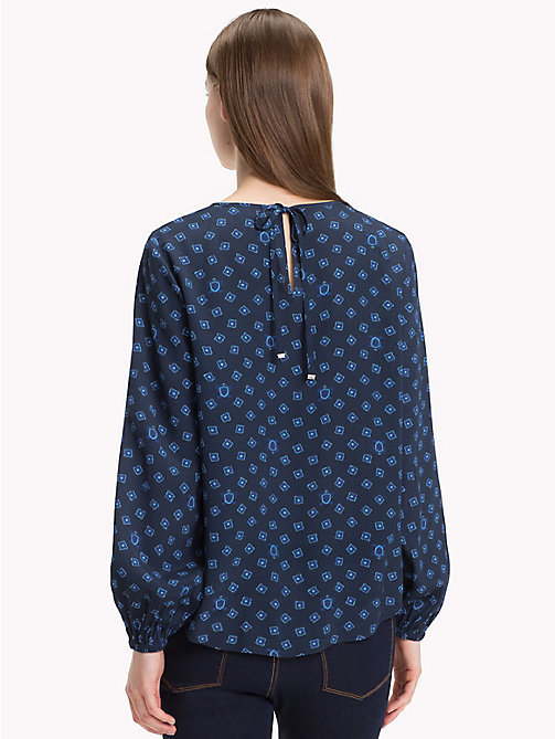 TOMMY HILFIGER Viscose Long Sleeve Blouse - FUN FOULARD BLUE PRT / SKY CAPTAIN - TOMMY HILFIGER Blouses - detail image 1