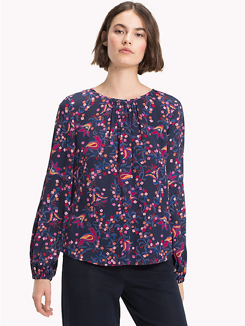 TOMMY HILFIGER Viscose Long Sleeve Blouse - FOLKLORE FLORAL PRT / SKY CAPTAIN -  NEW IN - main image