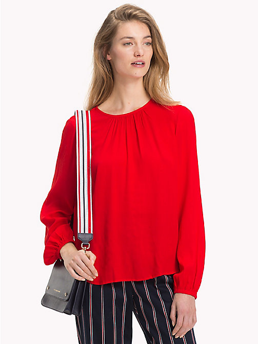 TOMMY HILFIGER Viscose Long Sleeve Blouse - FLAME SCARLET - TOMMY HILFIGER NEW IN - main image